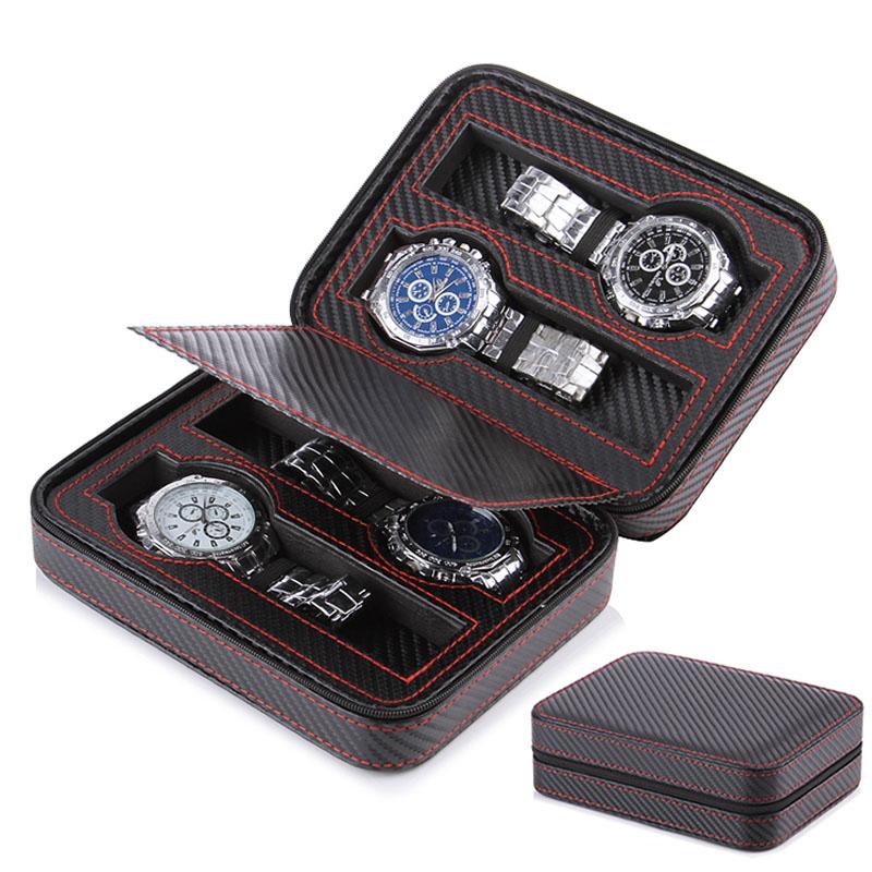 2-4-8-Slot-Portable-Carbon-Fiber-Leather-Watch-Zipper-Storage-bag-Travel-Jewlery-Watch-Box
